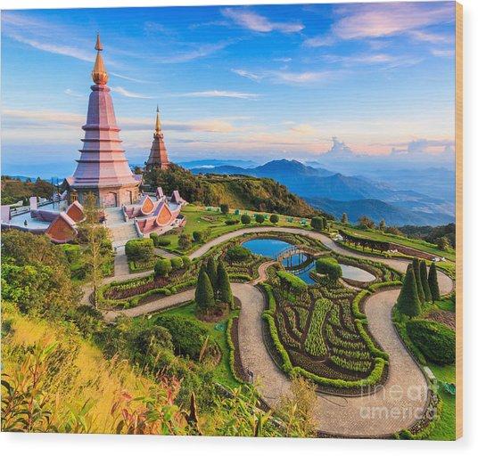 Landmark Unseen Thailand  Pagoda In Wood Print