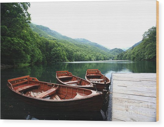 Landscape Bay Sea Boat Adventure Wood Print