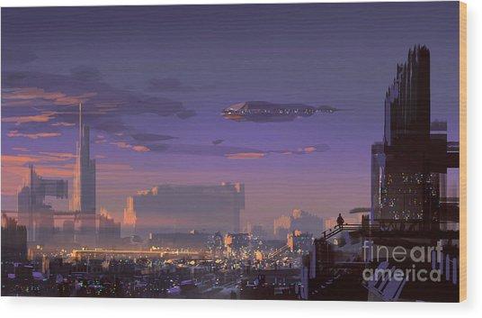 Landscape Digital Painting Of Sci-fi Wood Print