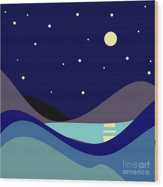 Landscape. Moonlit Night. Vector Wood Print