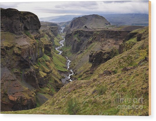 Landscape Of Canyon And River In Wood Print by Vaclav P3k