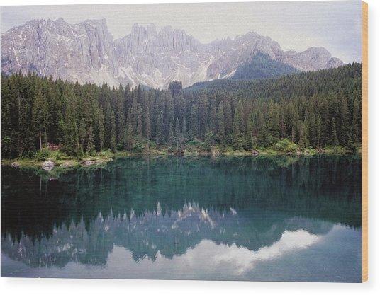 Landscape Of Carezza Lake And Latemar Wood Print by Stefano Salvetti