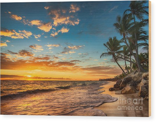 Landscape Of Paradise Tropical Island Wood Print