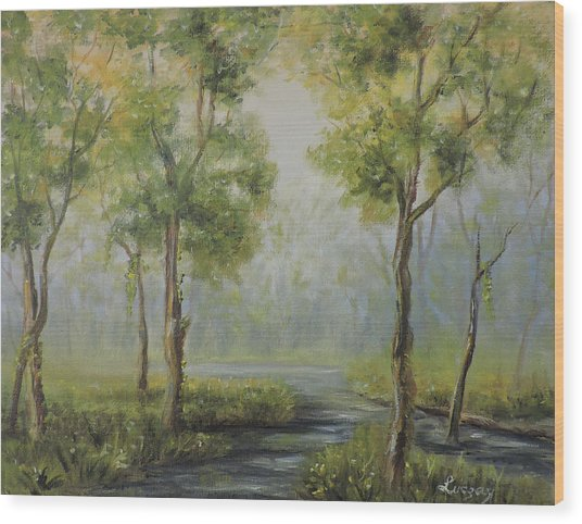 Landscape Of The Great Swamp Of New Jersey With Pond Wood Print