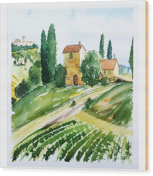Landscape With Houses, Watercolor Wood Print