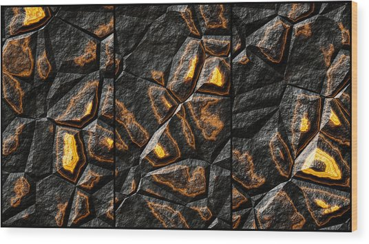 Large Gold Stone Triptych Wood Print