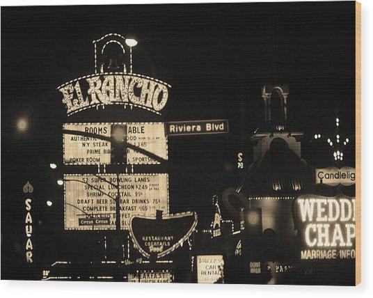 Las Vegas 1984 Sepia #13 Wood Print