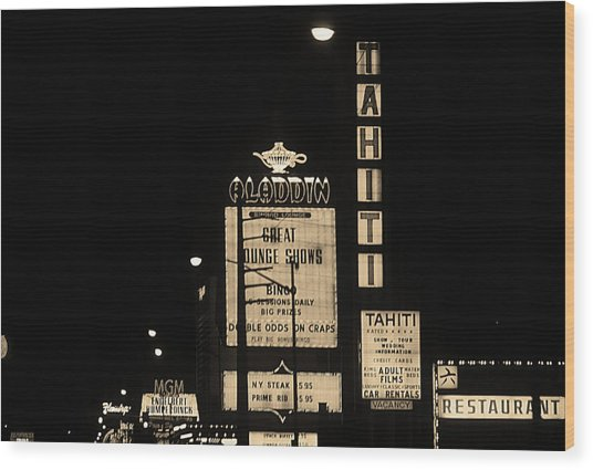 Las Vegas 1984 Sepia #4 Wood Print