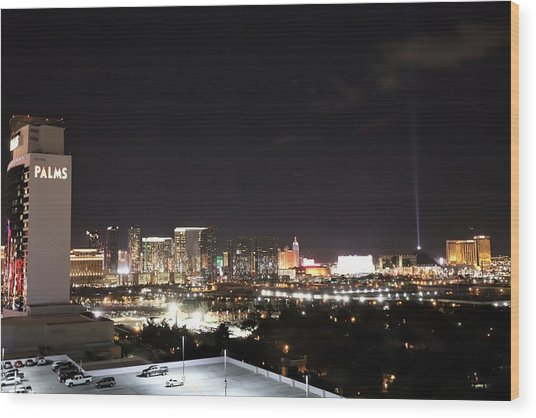 Las Vegas By Night Wood Print