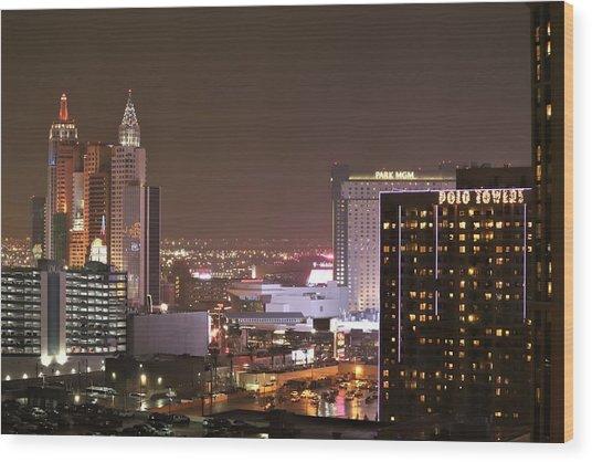 Las Vegas Cityscapes Wood Print