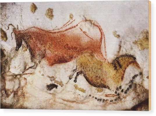 Lascaux Cow And Horse Wood Print