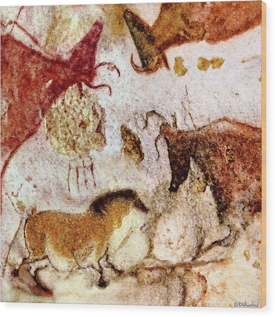 Lascaux Horse And Cows Wood Print