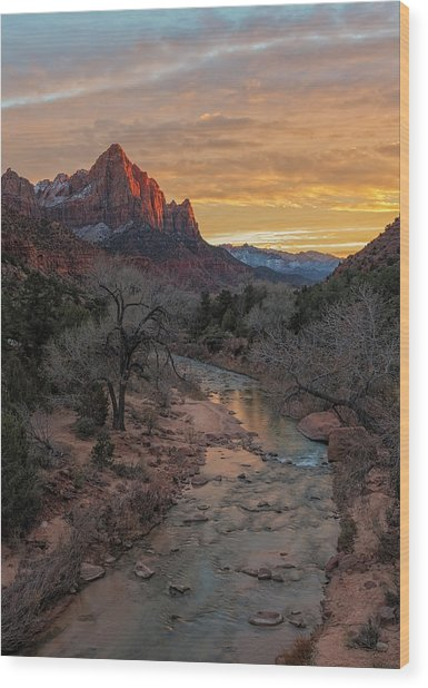 Last Light On The Watchman Wood Print