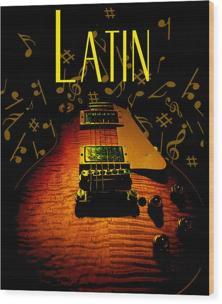 Wood Print featuring the digital art Latin Guitar Music Notes by Guitar Wacky