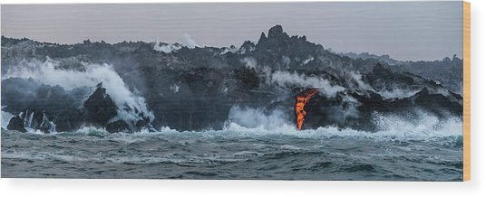 Wood Print featuring the photograph Lava Entering The Sea IIi by William Dickman