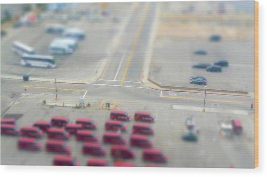 Lax Airport Parking Lot - Tilt Shift Wood Print