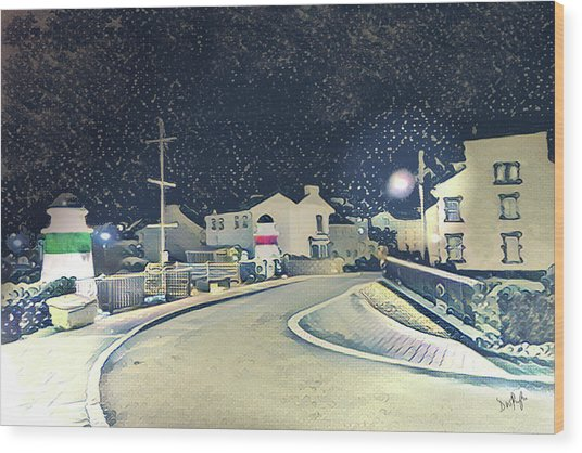 Laxey New Bridge On A Winter's Night Wood Print