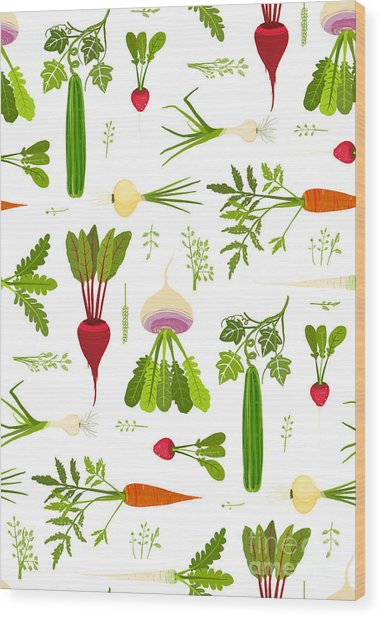 Leafy Vegetables And Greens Seamless Wood Print