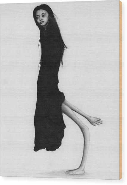 Leaning Woman Ghost - Artwork Wood Print