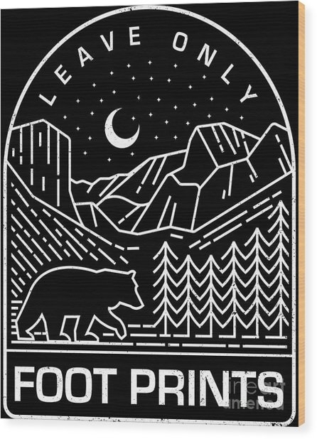Leave Only Foot Prints Nature Retro Illustration Wood Print