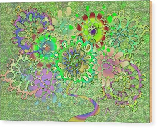 Leaves Remix Wood Print