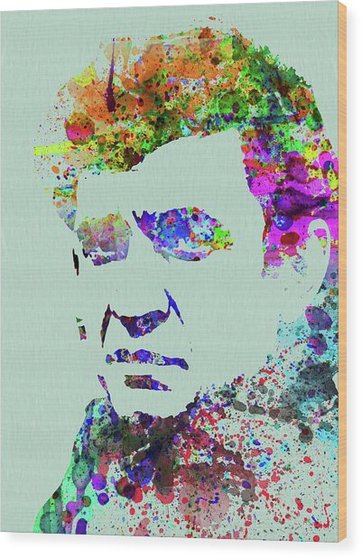 Legendary Johnny Cash Watercolor Wood Print