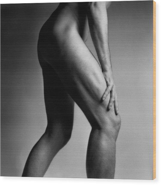Legs Of Nude Man Wood Print by Bernard Jaubert