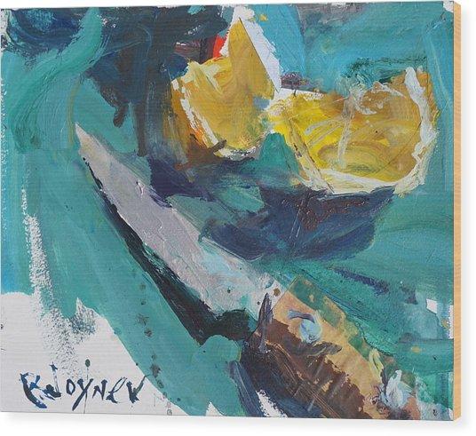 Lemon And Knife Still Life Painting Wood Print