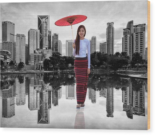 Wood Print featuring the digital art Let The City Be Your Stage by ISAW Company