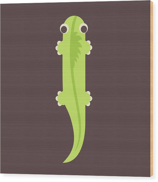 Letter I - Animal Alphabet - Iguana Monogram Wood Print