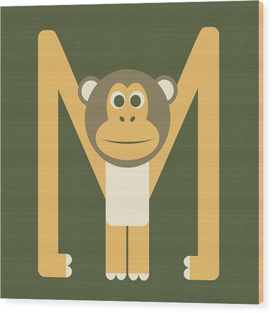 Letter M - Animal Alphabet - Monkey Monogram Wood Print