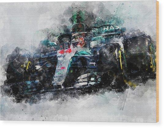 Lewis Hamilton, Mercedes Amg F1 W09 - 10 Wood Print