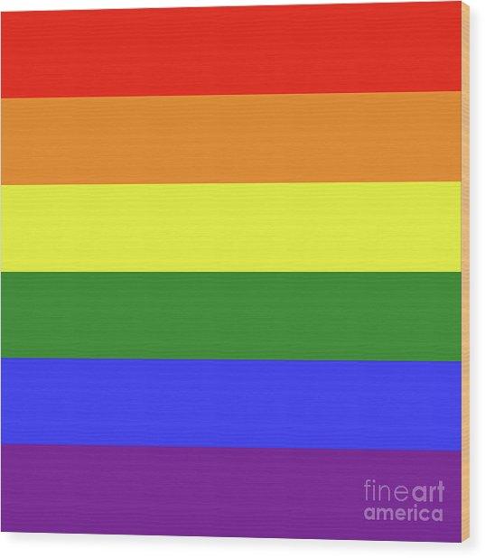 Lgbt 6 Color Rainbow Flag Wood Print