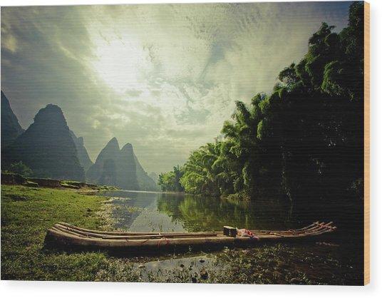 Li River Raft Wood Print