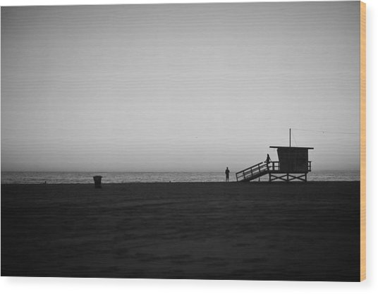 Lifeguard Tower In Santa Monica Wood Print by Stephen Albanese