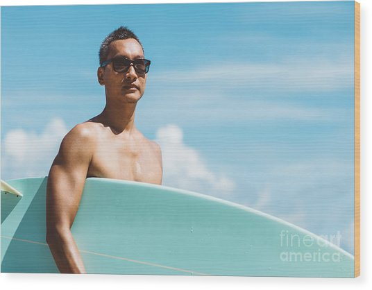Lifestyle Series  Asian Man Holding Wood Print