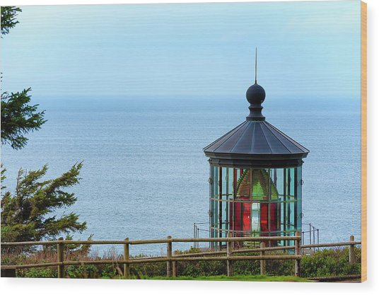 Light At Cape Meares Wood Print