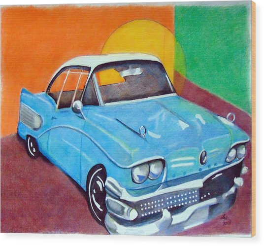 Light Blue 1950s Car  Wood Print