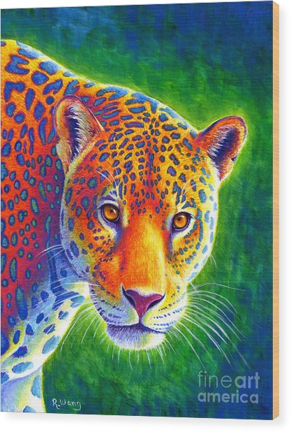 Light In The Rainforest - Jaguar Wood Print