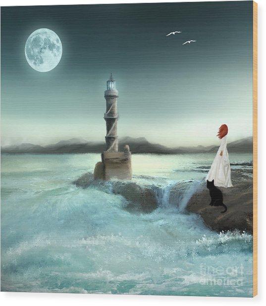 Lighthouse At Full Moon Wood Print