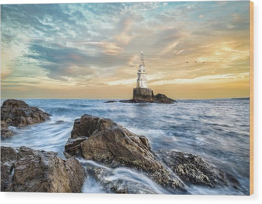 Lighthouse In Ahtopol, Bulgaria Wood Print