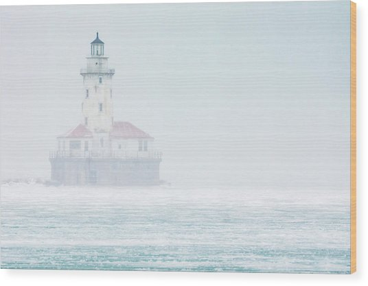 Lighthouse In The Mist Wood Print