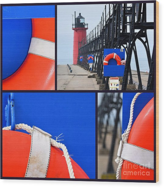 Lighthouse Lifesaver Collage Wood Print