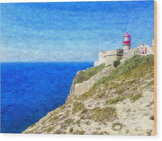 Lighthouse On Top Of A Cliff Overlooking The Blue Ocean On A Sunny Day, Painted In Oil On Canvas. Wood Print