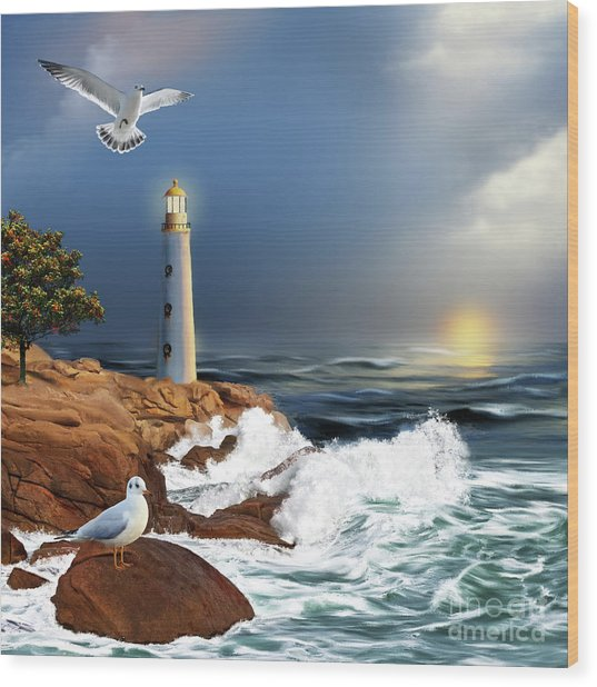 Lighthouse Sunset Wood Print