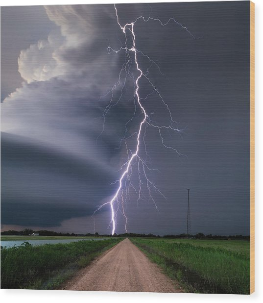 Lightning Bolt From A Super-cell Wood Print by John Finney Photography