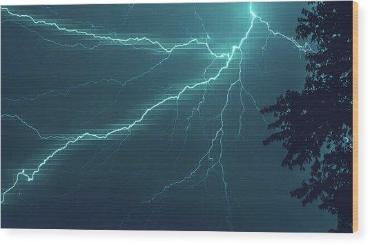 Lightning Grid Wood Print