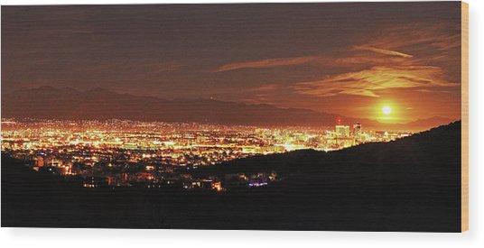 Lights Of Tucson And Moonrise Wood Print