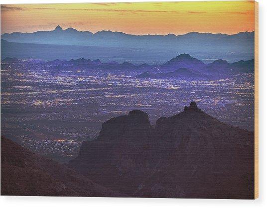 Lights Of Tucson At Twilight  Wood Print