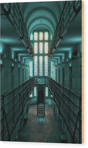 Lincoln Castle Prison In Blue Wood Print